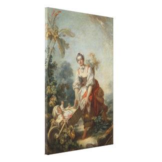 Fragonard著母性愛の喜び キャンバスプリント