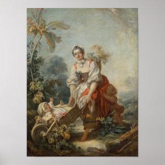 Fragonard著母性愛の喜び ポスター