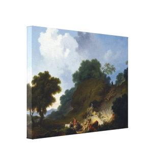 Fragonard著羊飼いとの景色 キャンバスプリント