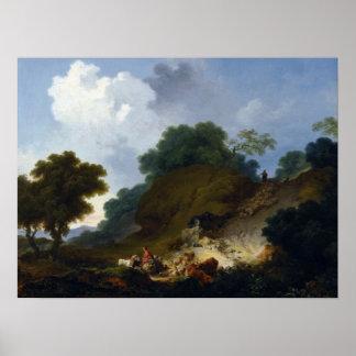 Fragonard著羊飼いとの景色 ポスター