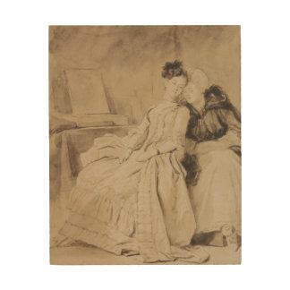 Fragonard著親密な会話 ウッドウォールアート