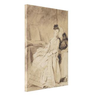 Fragonard著親密な会話 キャンバスプリント