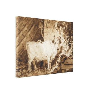 Fragonard著馬小屋の白いBullそして犬 キャンバスプリント