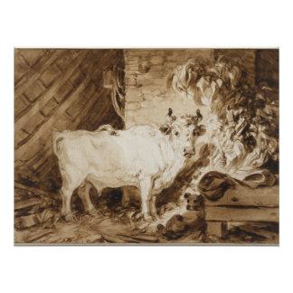 Fragonard著馬小屋の白いBullそして犬 ポスター