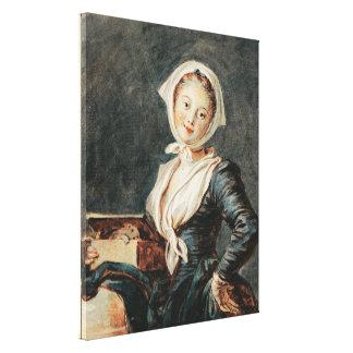Fragonard著Marmotを持つ女の子 キャンバスプリント