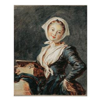 Fragonard著Marmotを持つ女の子 ポスター