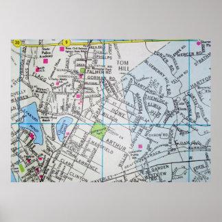 FraminghamのMAのヴィンテージの地図ポスター ポスター