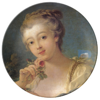 Francois Boucher著バラの若い女性の花束 磁器プレート