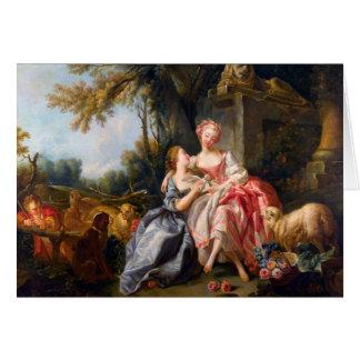 Francois Boucher鋼片のドウのロココ様式の女性芸術 カード