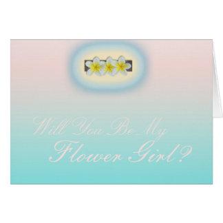 Frangipaniのビーチ結婚式のフラワー・ガールの要求 カード