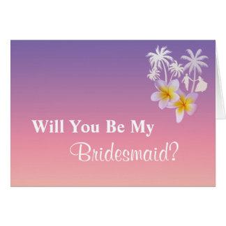Frangipaniのビーチ結婚式の新婦付添人の要求 カード