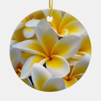 Frangipaniのプルメリアの花の写真 セラミックオーナメント