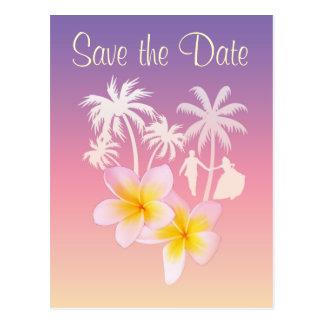 Frangipaniの保存日付の結婚式の発表 ポストカード