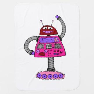 Frankieのロボット: 白のピンク ベビー ブランケット