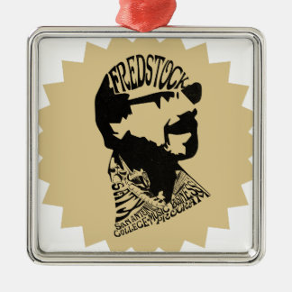FredHeadのロゴ シルバーカラー正方形オーナメント