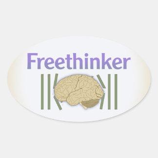 Freethinkerの(自由に壊れる頭脳と)ステッカー 楕円形シール