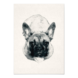 French Bulldog Puppy Ink Portrait on 5x7 Cardstock カード