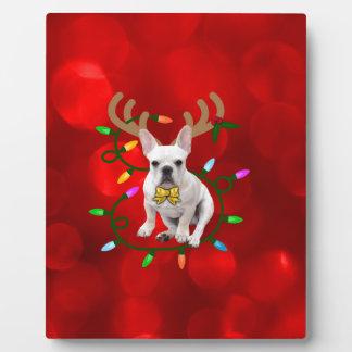 French Bulldog Reindeer フォトプラーク
