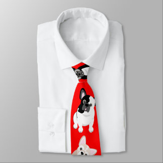 French Bulldogs Frenchies Christmas Red オリジナルネクタイ
