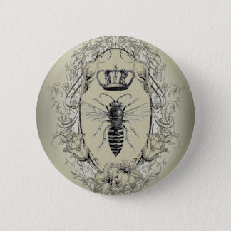 french country chic victorian crown queen bee 5.7cm 丸型バッジ