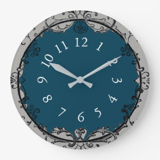 French-Vintage-Shop-Clock-Ocean-Blue*_Silver ラージ壁時計