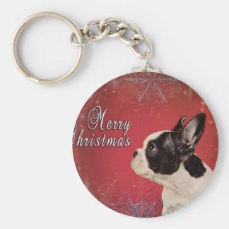 Frenchieのクリスマスカード キーホルダー