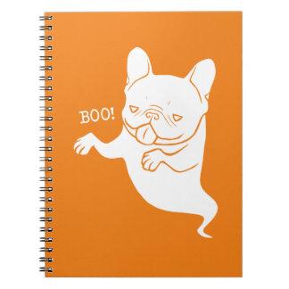 Frenchieのブーイングのブーイングのハロウィンの幽霊 ノートブック