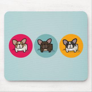 Frenchieの円-青、金ゴールド及びピンク マウスパッド