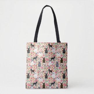 Frenchieの花のトートバック トートバッグ
