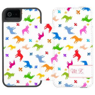 Frenchieパターンモノグラム iPhone SE/5/5sウォレットケース
