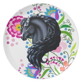 Frieisianの馬、黒いbeuaty種馬 プレート