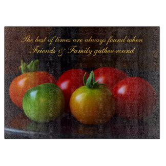 Friends & Family Quote w/ Tomatoes Cutting Board カッティングボード