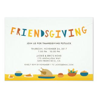 Friendsgivingのパーティの招待状 カード