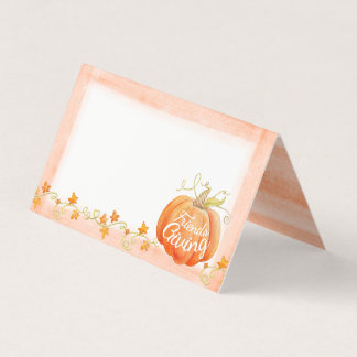 Friendsgiving fall pumpkin watercolor guest cards プレイスカード