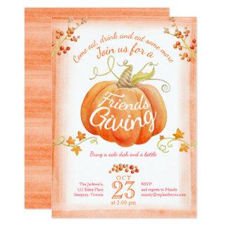 Friendsgiving pumpkin watercolor art invitations 11.4 x 15.9 インビテーションカード