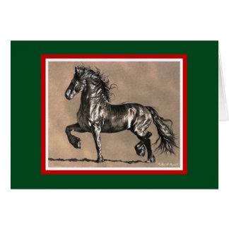 Friesianの馬のクリスマスカード カード