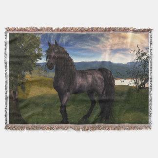 Friesianの馬のブランケット スローブランケット