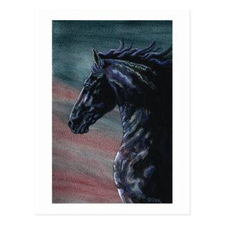 Friesianの馬の芸術 ポストカード