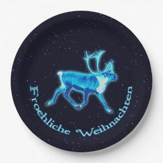 Froehliche Weihnachten -青いカリブー(トナカイ) ペーパープレート