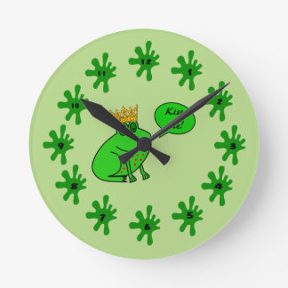 Frog王子の柱時計の子供への寝室 ラウンド壁時計