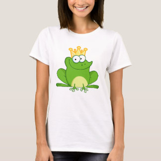 Frog Frogs Crown Green王のかわいい漫画動物 Tシャツ