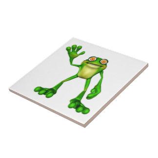 Froggieかわいい漫画の振るカエル 正方形タイル小