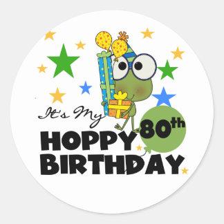 Froggieのホップの豊富な第80誕生日 ラウンドシール