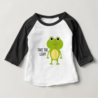Froggyのベビー3/4の袖のRaglanのTシャツ ベビーTシャツ