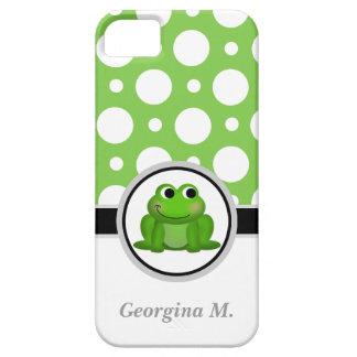 Froggyの緑及び白い水玉模様のiPhone 5の箱 iPhone SE/5/5s ケース