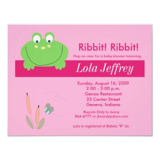 FroggyvilleのFroggyのピンクのベビーシャワーの招待状 カード