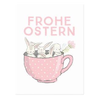 Frohe Ostern Hasen in der Tasse ポストカード