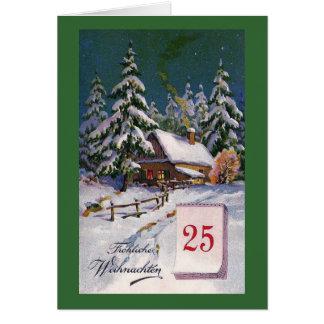 """""""Frohliche Weihnachten""""のヴィンテージのドイツ語 カード"""