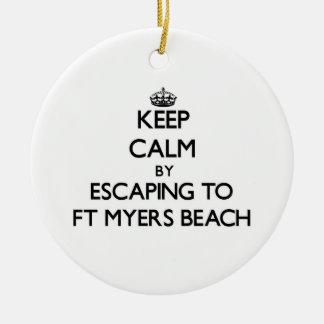 Ftマイヤーズのビーチフロリダへの脱出によって平静を保って下さい セラミックオーナメント