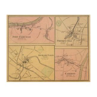 Ft FairfieldのPresqueの島、カリブーの地図 ウッドウォールアート